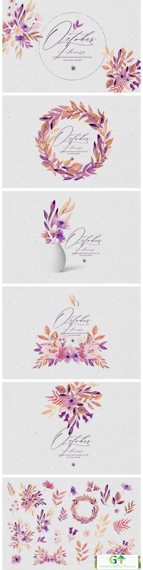 Watercolor Set - October Flowers [Stock Image] [illustrations]