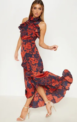 navy floral print detail wrap maxi prom dress