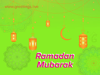 Ramadan Mubarak 2018 greetings live green HD background.