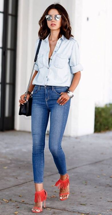 casual style outfit: shirt + bag + skinnies