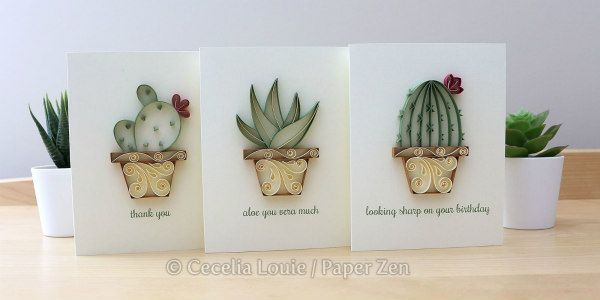 trio of quilled succulent cards on display with succulent potted plants