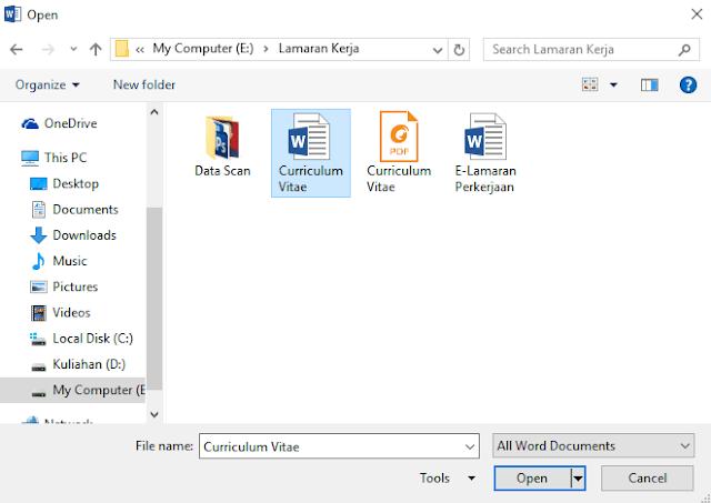 membuka file dokumen word yang telah ada atau telah dibuat sebelumnya