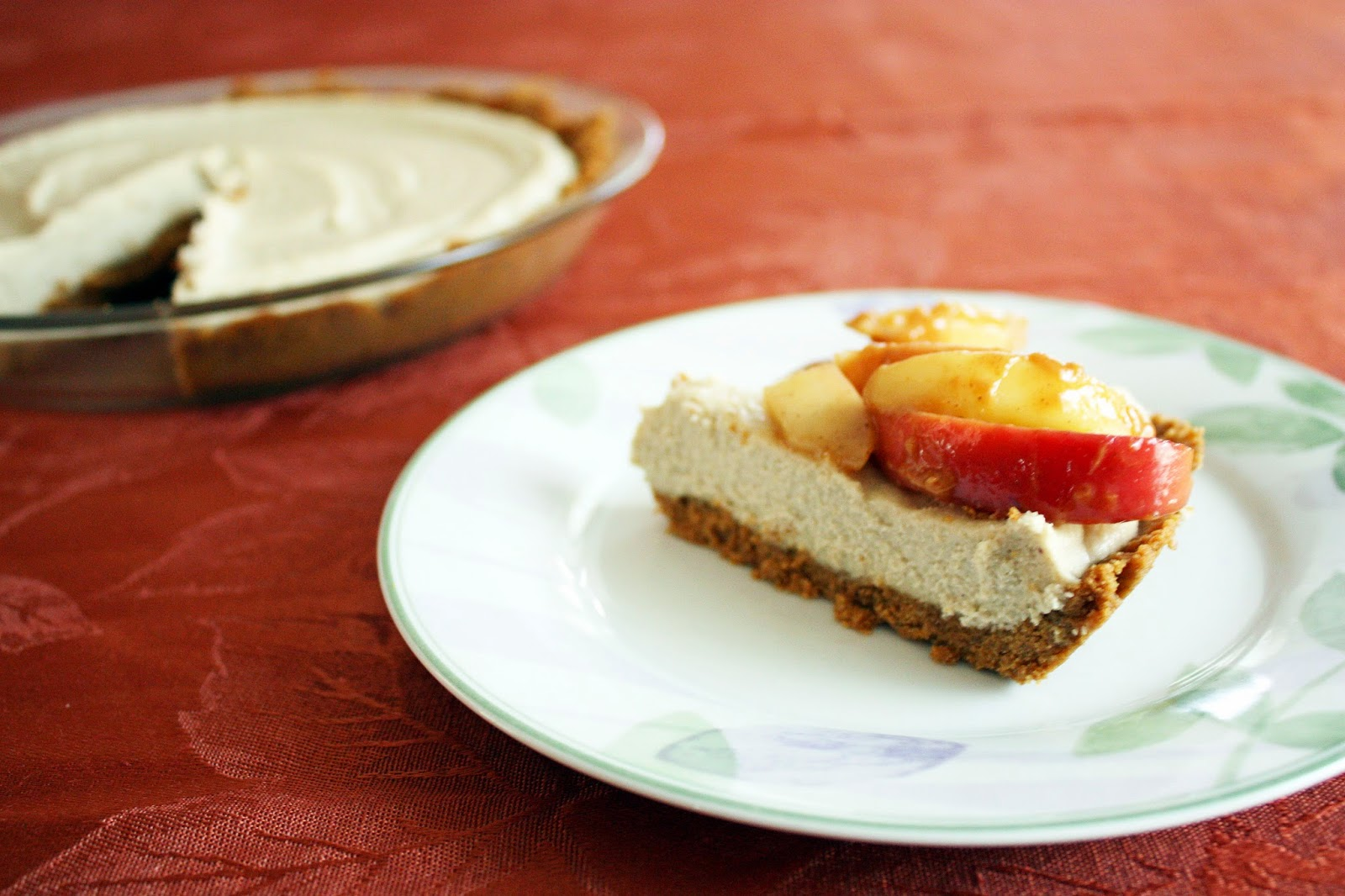 vegan apple peanut butter cheesecake pie with sauteed apples