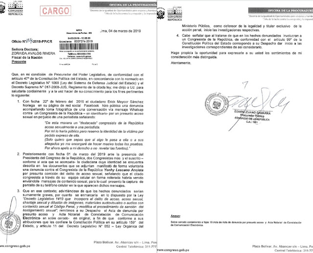 Informe para iniciar investigación a Lescano por acoso sexual contra una periodista