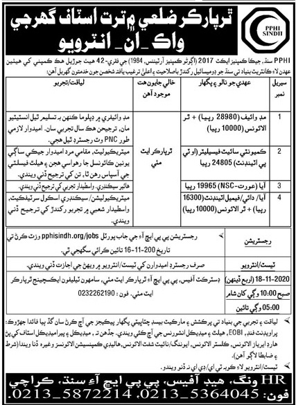 Walk-In Interview for PPHI People's Primary Healthcare Initiative (PPHI) Sindh Jobs 2020 | Multiple Jobs