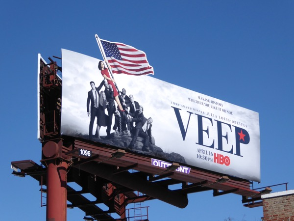 Veep season 6 US flag extension billboard