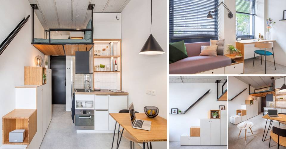 A%2BThis%2BSmall%2BApartment%2BHas%2BA%2BLoft%2BBed%2BSuspended%2BFrom%2BThe%2BCeiling This Contemporary Small Renovation Apartment Has A Loft Bed Suspended From The Ceiling Interior