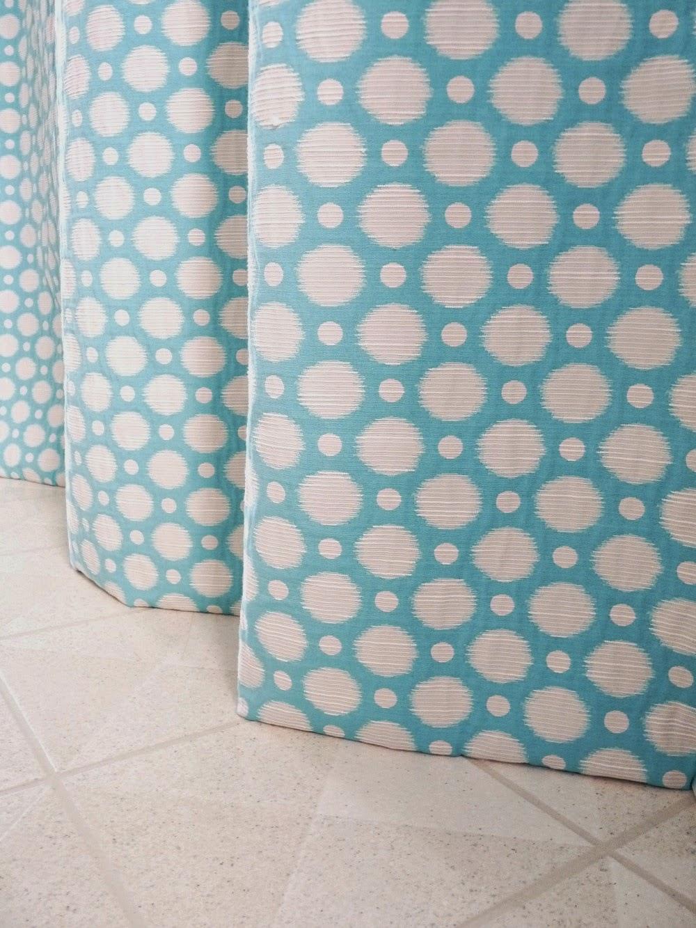 Aqua drapes with invisible hem