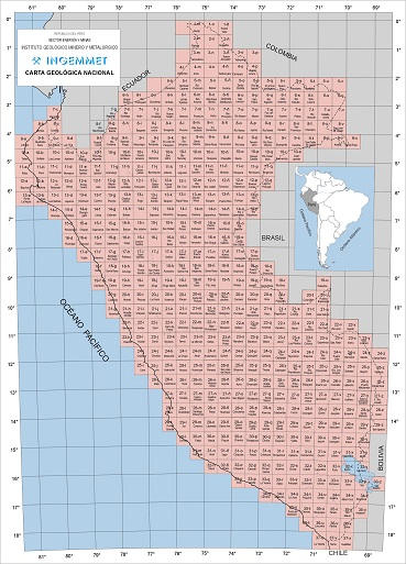 Cartes géologiques du Pérou 100 000
