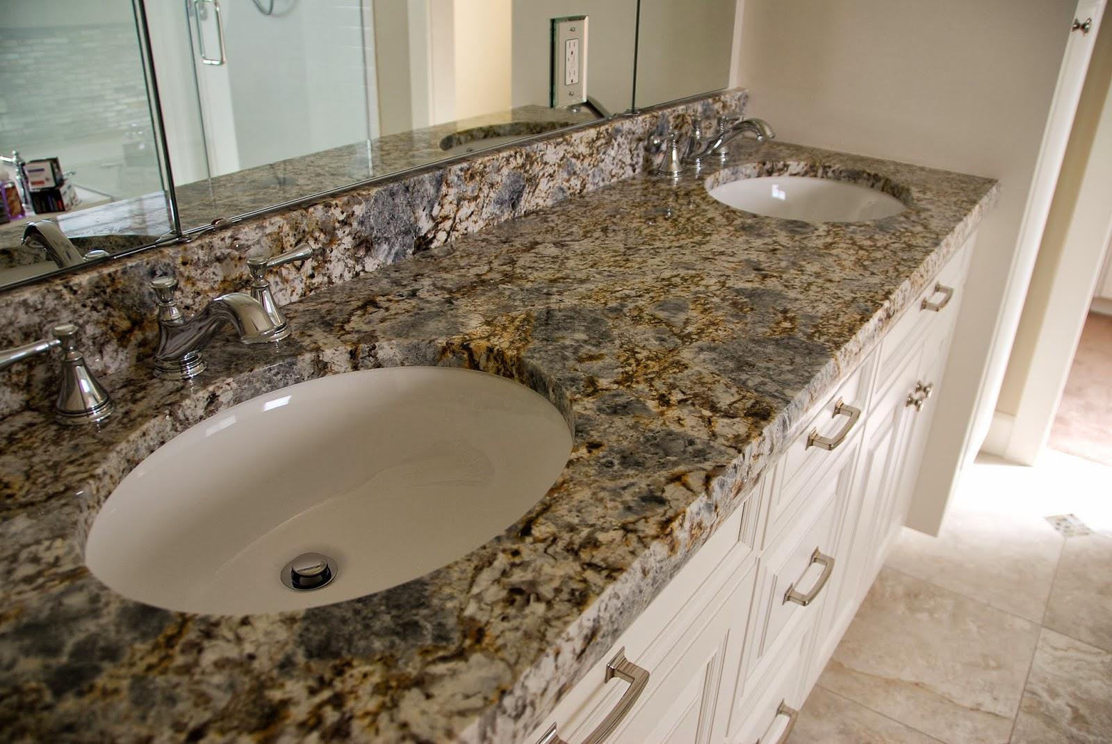 The Granite Gurus Blue Flower Granite Master Bath