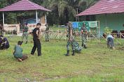 Prajurit TNI Yonif 645 Karya Bakti di Ponpes Quran Hadist Al-Hikam Sambas