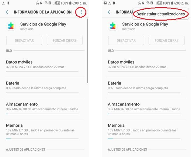 google play eliminar actualizacion