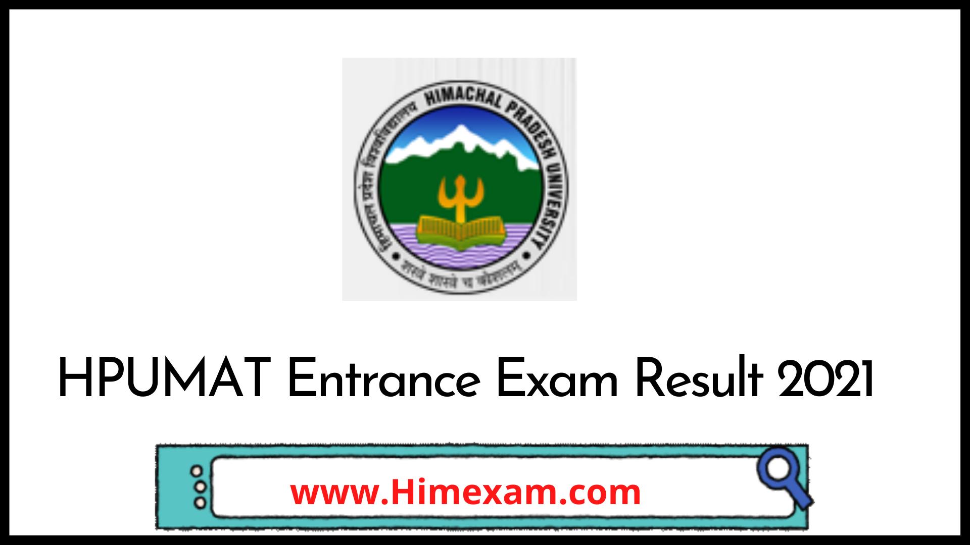 HPUMAT Entrance Exam Result 2021