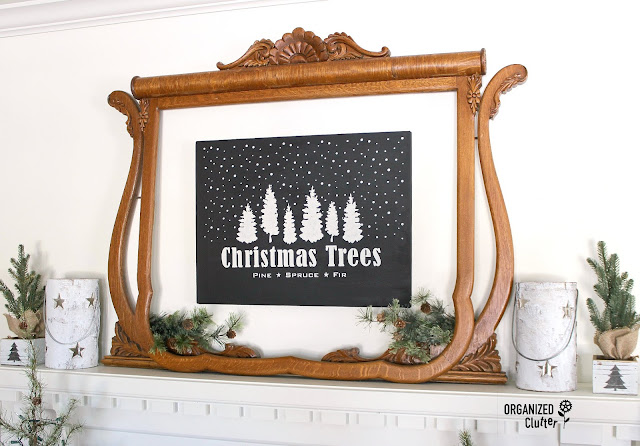 New Christmas Trees Stencil From Old Sign Stencils #Oldsignstencils #stencil #artcanvas #upcycle #garagesalefind #RusticChristmas  #Christmastree #neutralChristmas