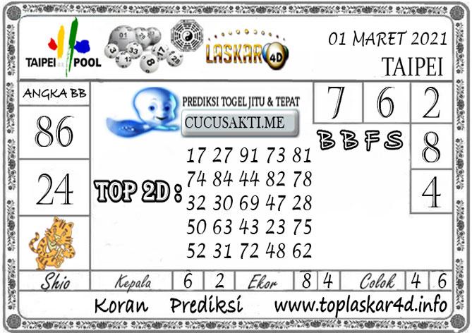 Prediksi Togel TAIPEI LASKAR4D 01 MARET 2021