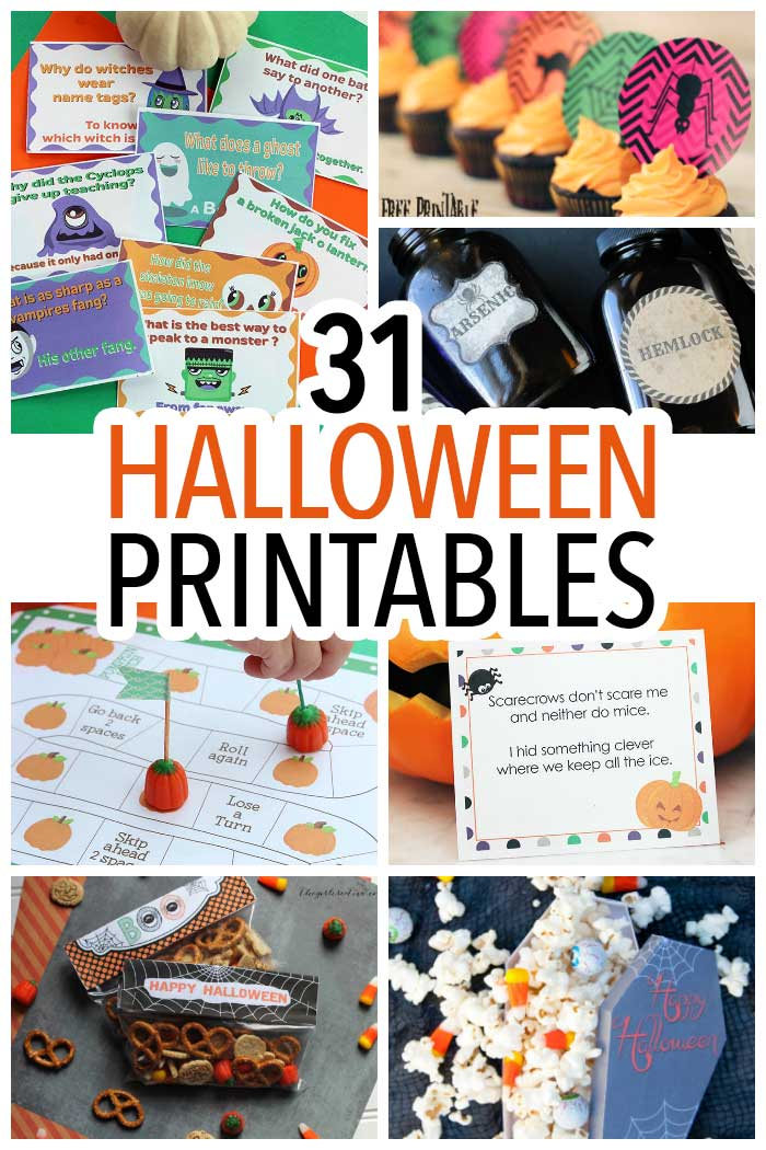 A huge collection of Halloween printables! Halloween activities, Halloween games, Halloween printables for kids, Halloween party printables, Halloween decorations, treat bags, treat toppers, and more