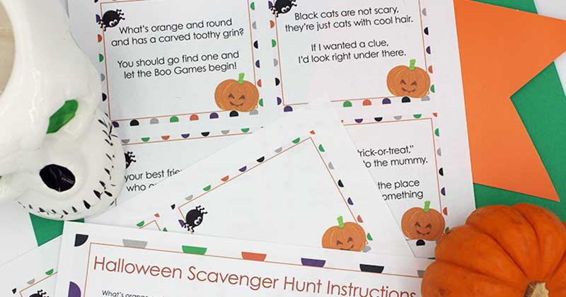 Fun Halloween Scavenger Hunt with Printable Clues | Sunny Day Family