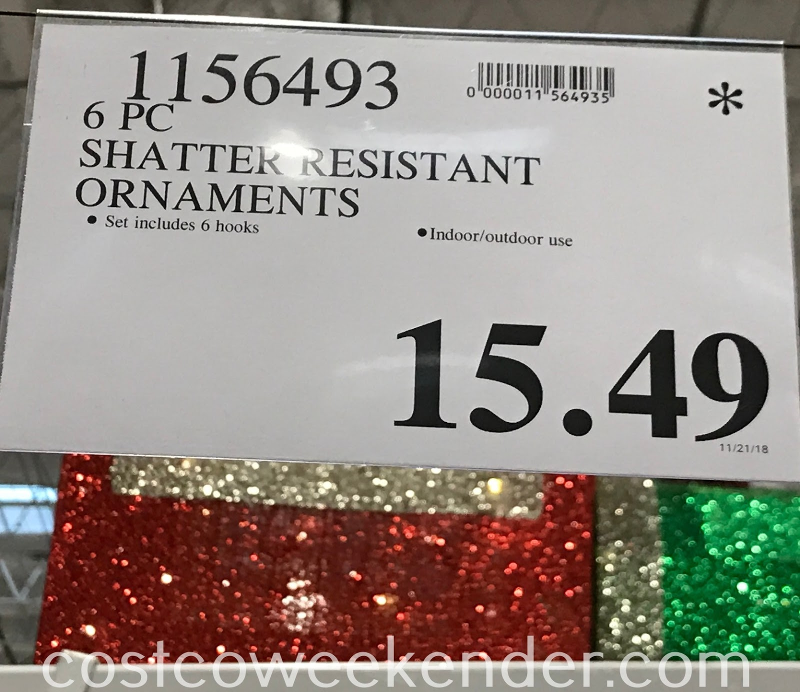 Deal for the 6-piece Shatter Resistant Ornaments at Costco