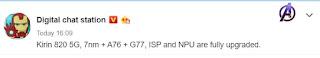 Leak mengungkapkan spesifikasi Kirin 820 5G;  akan diumumkan besok