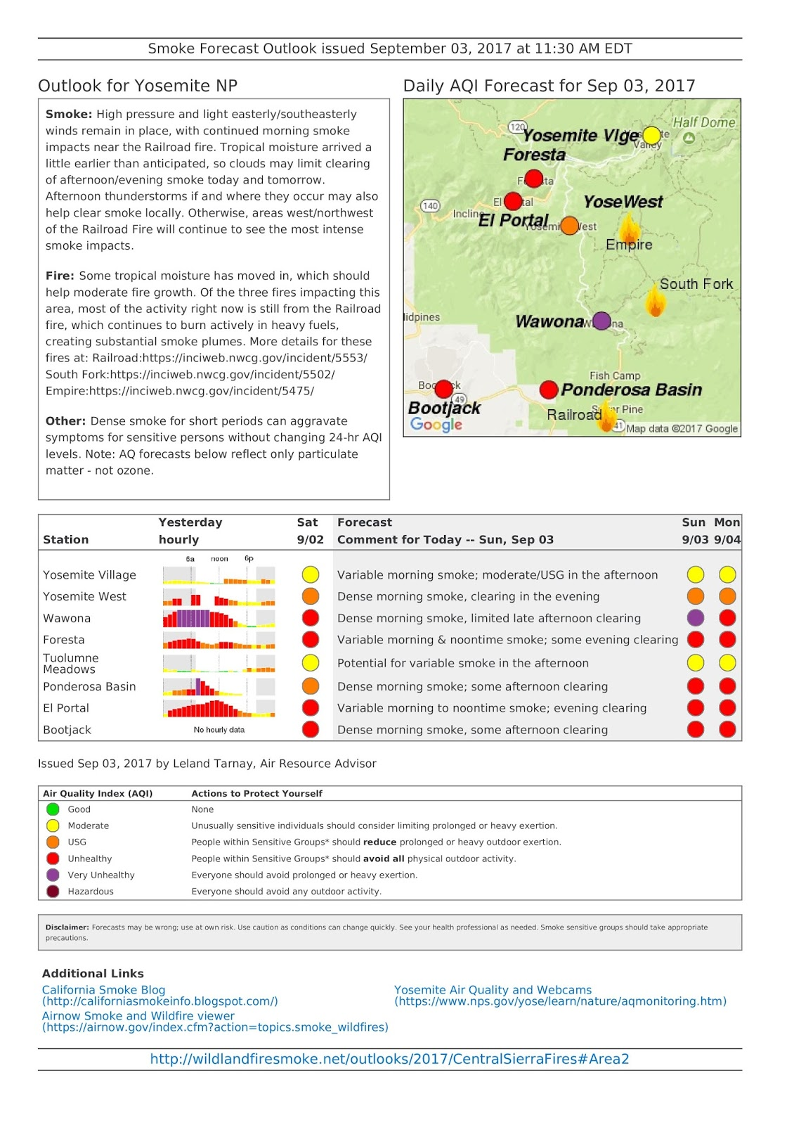 sunday september 3 2017 central sierra fires smoke aq outlook yosemite np