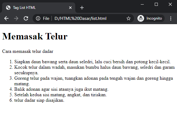 cara membuat ordered list HTML