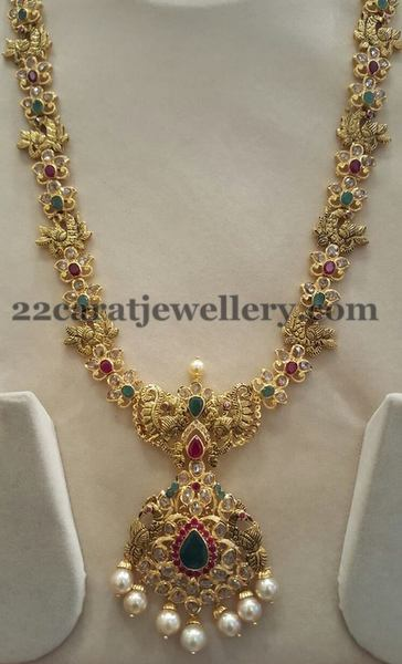 Nakshi Peacocks Uncut Diamonds Set Jewellery Designs