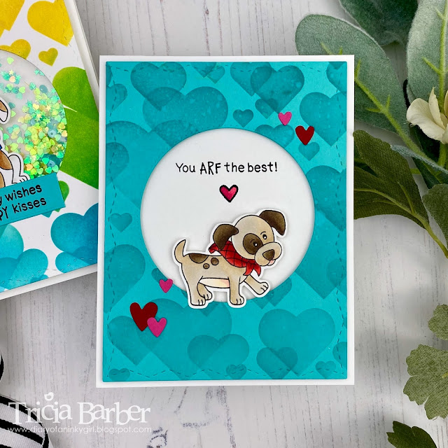 Bokeh Hearts Background Puppy Cards by January Guest Deisgner Tricia Barber | Bokeh Stencil Set and Puppy Playtime Stamp Set by Newton's Nook Designs #newtonsnook