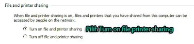 Aktifkan File and Printer Sharing