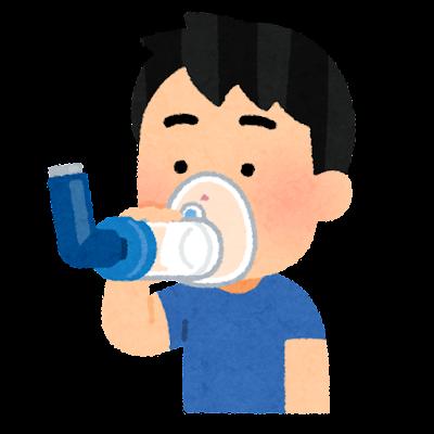 吸入器のスペーサーを使う子供のイラスト(男の子)