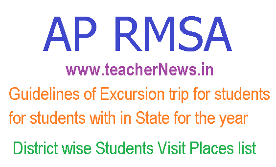 Guidelines of Excursion trip for students within State for the year 2018- 19 -Visit Places