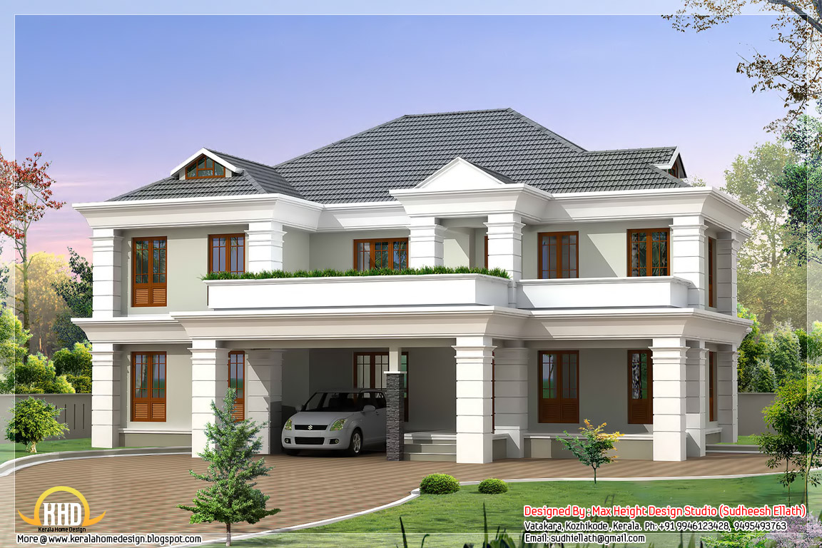Four india style house designs kerala home design and for Beautiful farmhouse plans