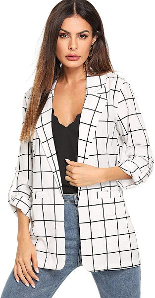 Plaid Tartan White Blazers For Women