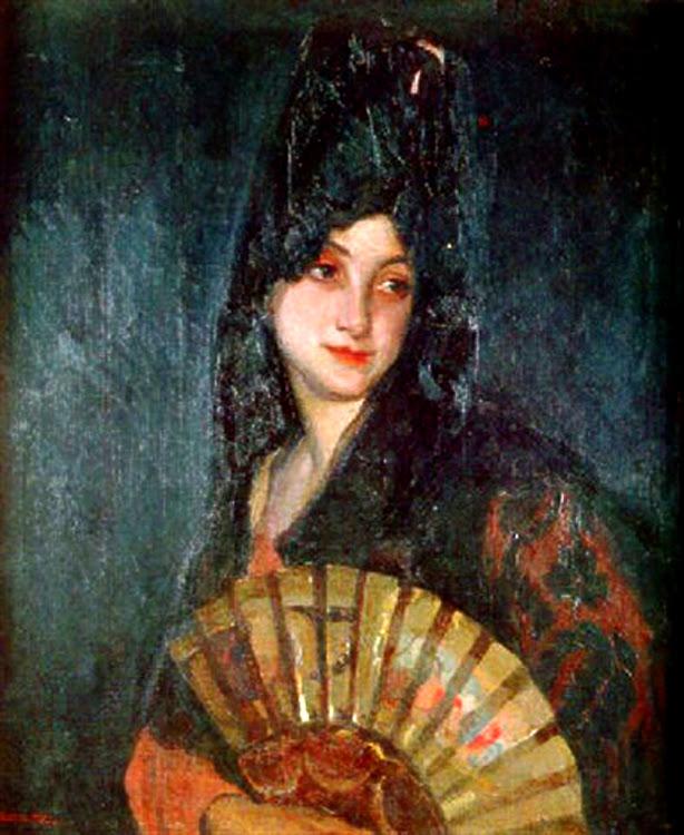 Mujer joven con abanico y mantilla,  Victor Moya Calvo, Pintor español, Pintores Valencianos, Retratos de Victor Moya Calvo, Pintores españoles