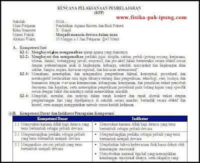 RPP Agama Kristen Kelas X XI XII Kurikulum 2013 Revisi 2018