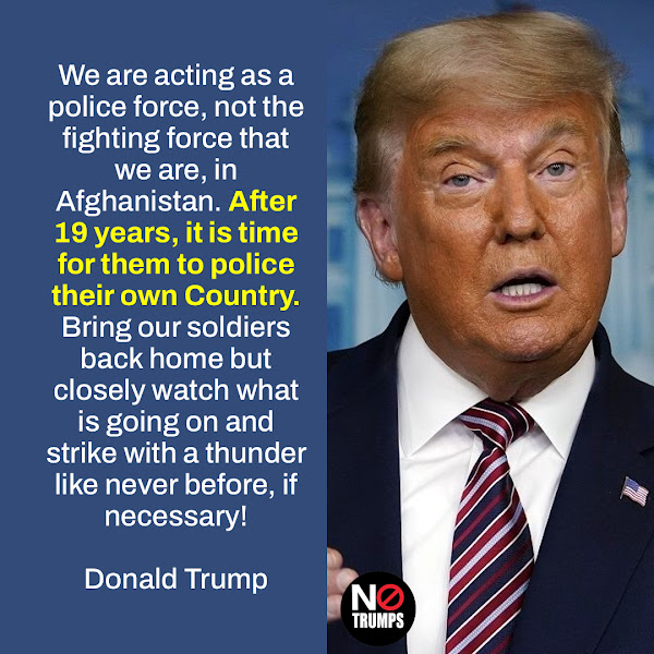 We are acting as a police force, not the fighting force that we are, in Afghanistan. After 19 years, it is time for them to police their own Country. Bring our soldiers back home but closely watch what is going on and strike with a thunder like never before, if necessary! — Donald Trump