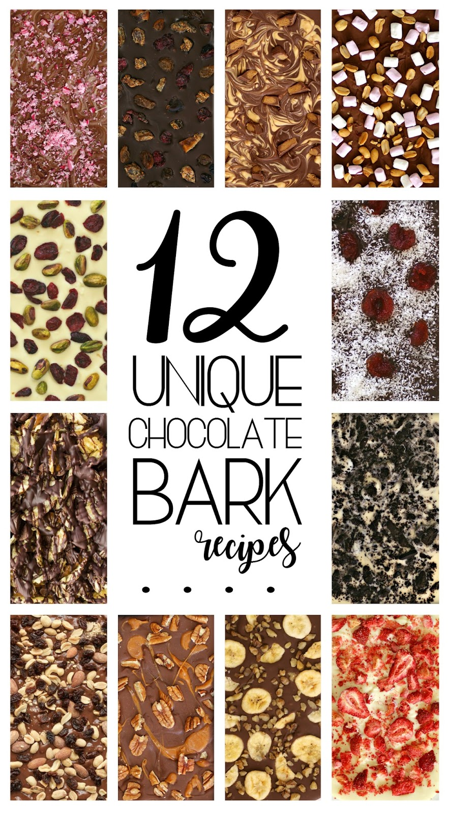 12 Unique Chocolate Bark Recipes for Homemade Christmas Gifts - gluten free, easy holiday recipes, food gift ideas, easy handmade gifts, DIY hostess gifts, gourmet homemade chocolates