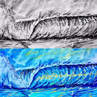 Original art by Surfer Shaper Artist Paul Carter