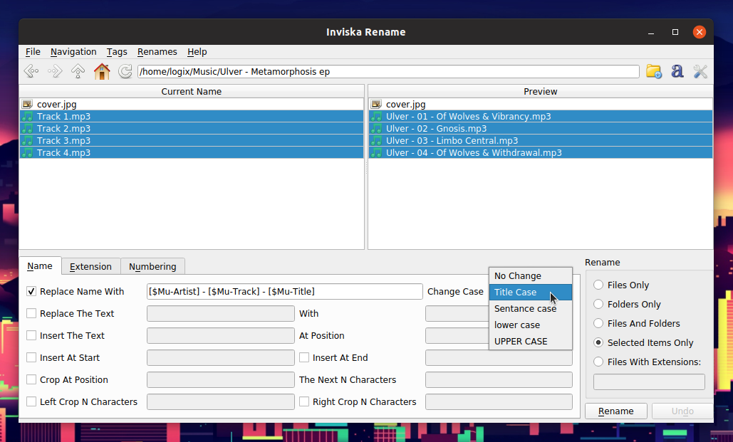 GUI To Batch Rename Files On Linux With Exif And Music Tags