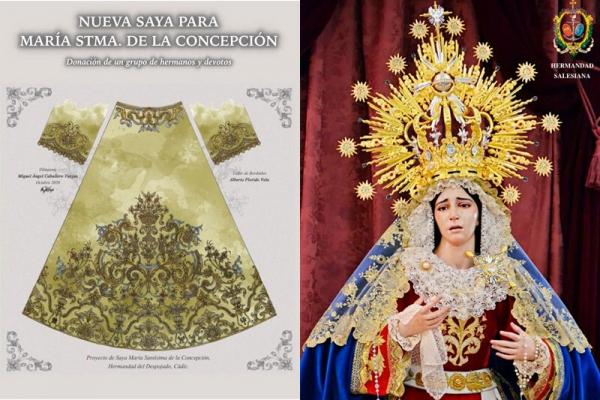 Le regalan una saya bordada a la Virgen del Despojado de Cádiz