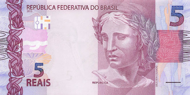 Brazilian Currency 5 Reals banknote 2010 Effigy of the Republic