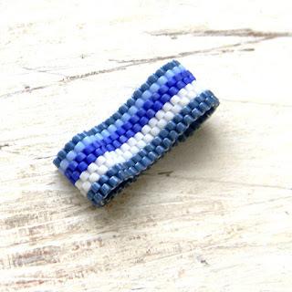 синее полосатое кольцо купить украшения ручной работы морская тематика стиль