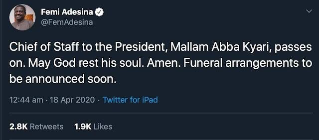 BREAKING: President Buhari's Chief of Staff, Abba Kyari Dies From Coronavirus
