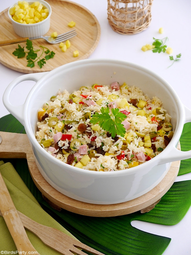Tropical Savory Rice Recipe - quick, easy and delicious rice recipe that is perfect as a side dish for grilled dishes and grilled meat!  from BirdsParty;  com @birdsparty #rice #recipe #summerrice #summerrecipe #sidedish #sides #bbqrecipe #tropicalrecipe #tropicalrice