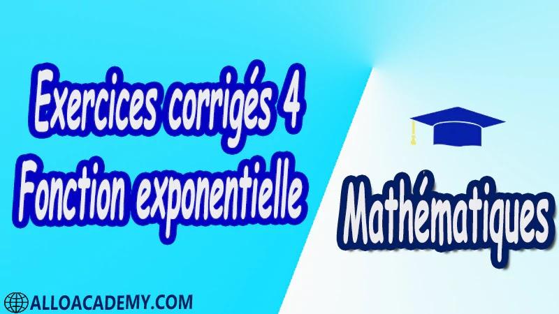 Exercices corrigés 4 Fonction exponentielle pdfMathématiques Maths Fonction exponentielle La fonction exponentielle Définition et théorèmes Approche graphique de la fonction exponentielle Relation fonctionnelle Autres opérations Étude de la fonction exponentielle Signe Variation Limites Courbe représentative Des limites de référence Étude d'une fonction Compléments sur la fonction exponentielle Dérivée de la fonction e^u Fonctions d'atténuation Chute d'un corps dans un fluide Fonctions gaussiennes Cours résumés exercices corrigés devoirs corrigés Examens corrigés Contrôle corrigé travaux dirigés td
