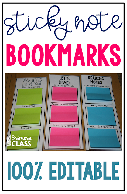 These EDITABLE sticky note bookmarks work with standard AND small sized sticky notes. Perfect for individual or partner work, fiction or non-fiction reading, reading buddies, book clubs, small group guided reading, learners who need direction as they read. Type in what you'd like your students to look for as they read! #stickynotebookmarks #guidedreading #bookstudies