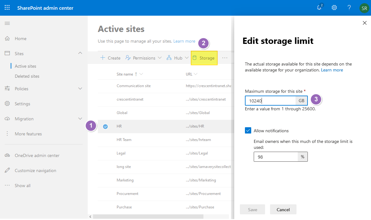 sharepoint online change storage quota