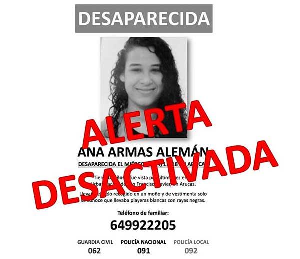 Ha sido localizada en buen estado en Agüimes a menor desaparecida en Arucas
