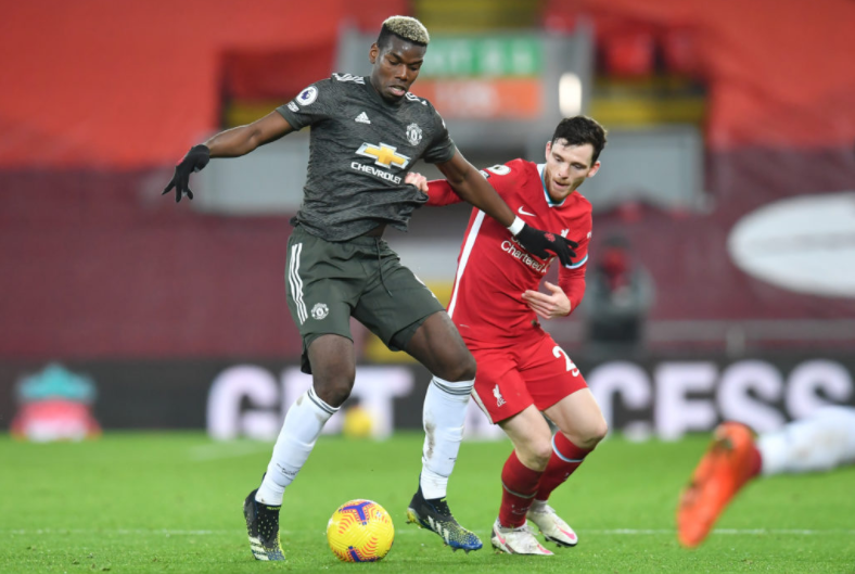 Paul Pogba and Andy Robertson will battle it out for bragging rights this Sunday