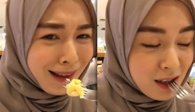 Hijaber asal Korea makan durian