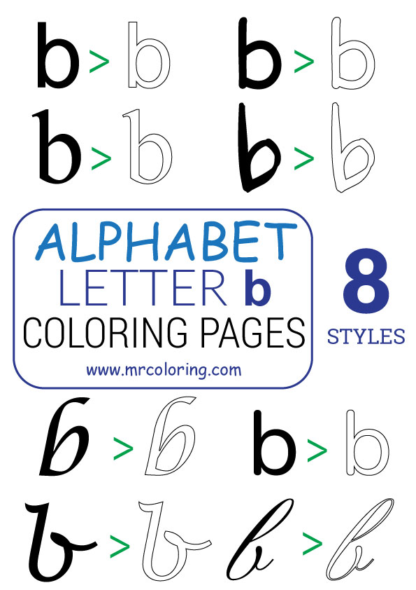 Alphabet letter b coloring pages Lowercase for kids